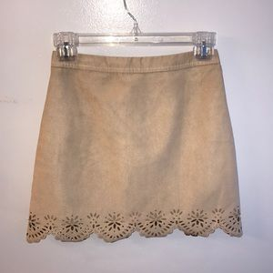 Hollister 00 Laser-Cut Faux Suede Skirt